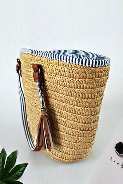 Women's Casual Tassel Zipper Woven Straw Tote Bag