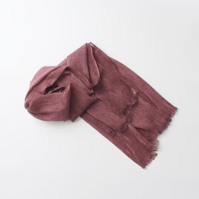 Tie-dyed Solid Color Cotton Linen Scarves Women Fringed Soft Winter Warm Neckerchief Shawl Wrap