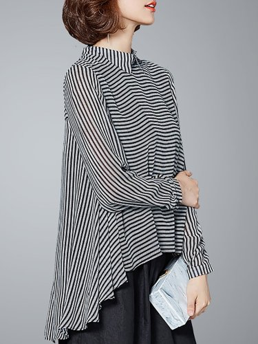 Long Sleeve Casual Asymmetric High Low Blouse