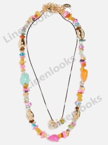 Summer Colorful Beaded Necklace for Women Shell Stone Chain Necklace Sets Trendy Chokers