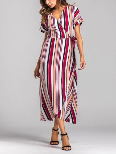 Rainbow Multicolor Stripes Beach Swing V-Neck Maxi Plus Size Dress