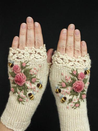 White Sweet Cotton-Blend Gloves & Mittens