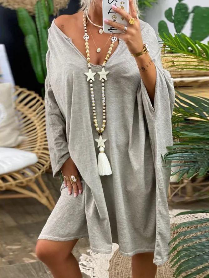 Gray Long Sleeve V Neck Jersey Shift Dresses