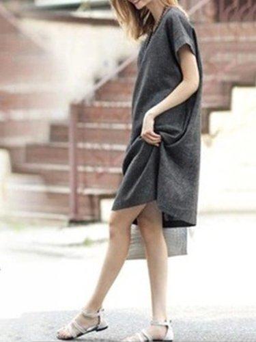 Gray A-line Linen Casual Crew Neck Plus Size Midi Dress
