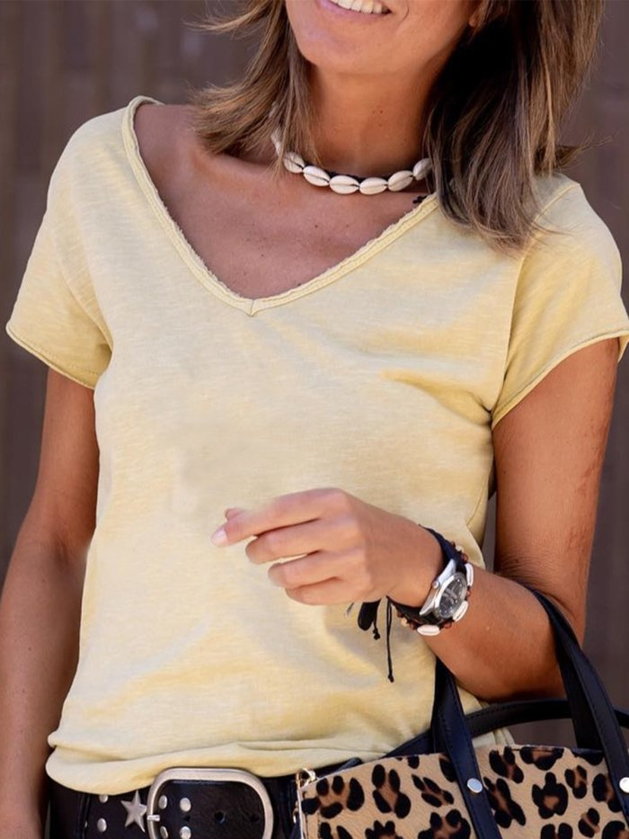 Casual Cotton V Neck Shirts & Tops