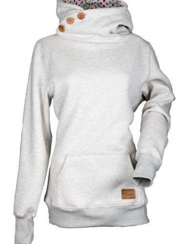Long Sleeve Turtle Neck Buttoned Hoodies