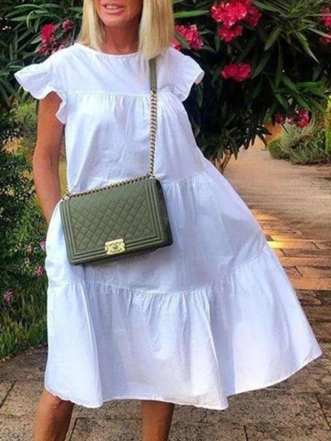 White Short Sleeve Beach Holiday Sweet A-line Dresses