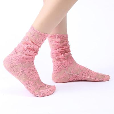 Women's Solid Color Lace Medium High Tube Lace Stockings