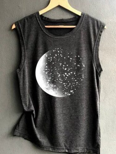 Round Neck Sleeveless Printed Casual Shirts & Tops