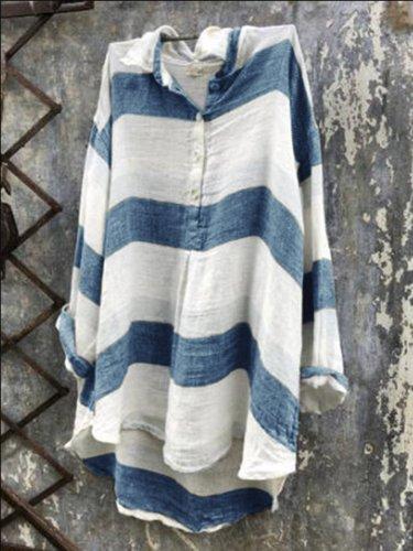 Casual Striped V Neck Shirts