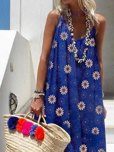 Floral V Neck Cotton-Blend Casual Dresses