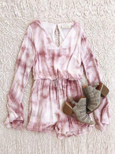 Pink Cotton V Neck Long Sleeve Jumpsuits