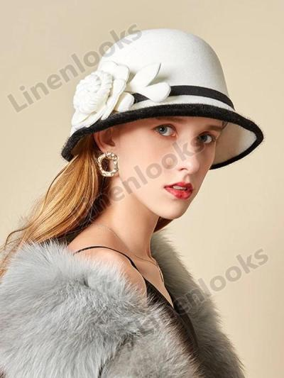Women's Woolen Felt Hat Autumn Winter Fashion Flowers Fisherman Hat