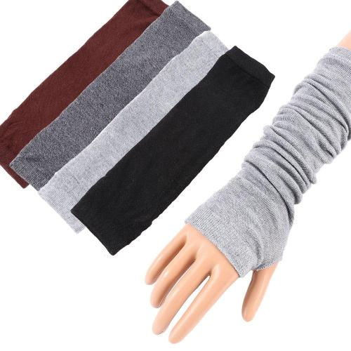 Women Sunscreen Arm Warmer Half Finger Cotton Long Fingerless Gloves
