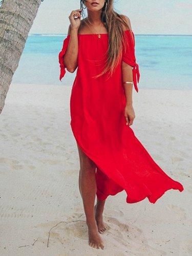 Off Shoulder Solid Boho Slit Short Sleeve Maxi Dress