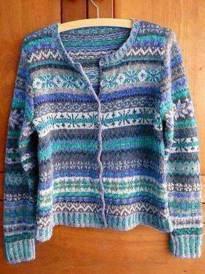 Buttoned Boho Long Sleeve Tribal Cardigan