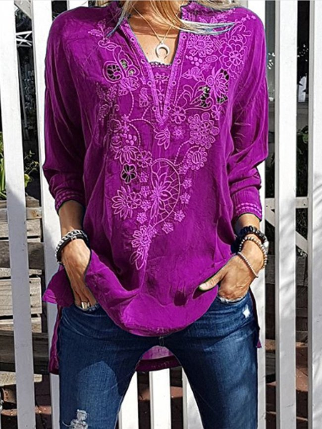Patchwork Casual Shirts & Tops