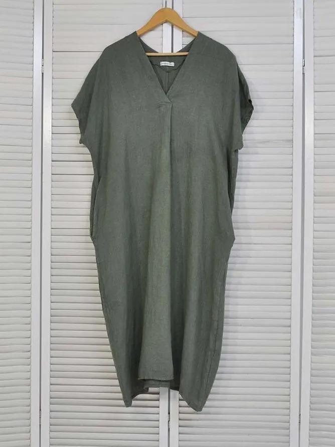 V Neck Casual Plain Short Sleeve Dresses