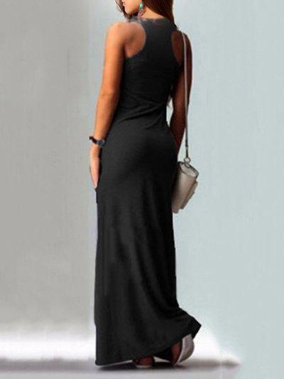 Casual A-line Cats Pockets Sleeveless Plus Size Maxi Dress