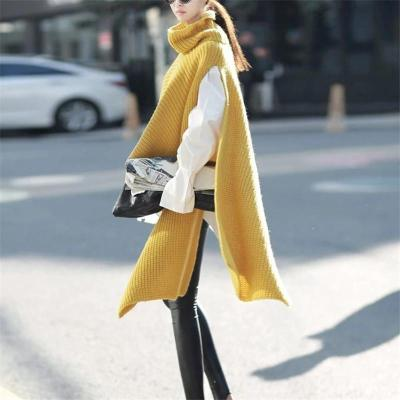 Fashion Pure Color High Neck Irregular Sweater