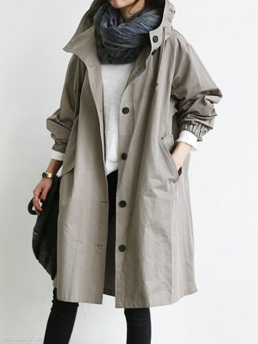 Oversized Hooded Flap Pocket Plain Longline Coat