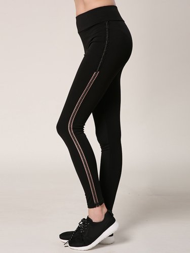 Paneled Casual Solid Breathable Sports Leggings