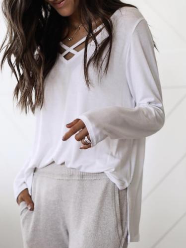 White V Neck Cotton Long Sleeve Shirts & Tops