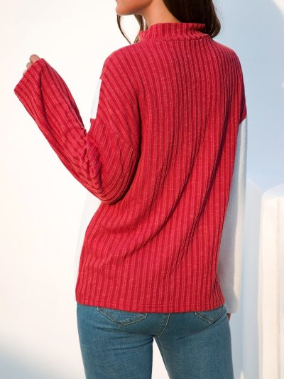 Color-Block Paneled Long Sleeve Stand Collar Shift Sweaters