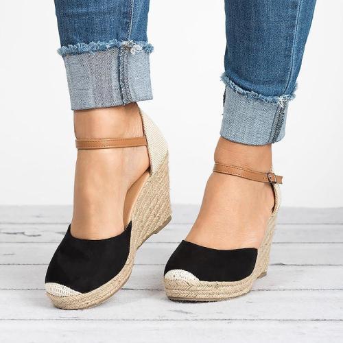 Women Ankle Strap Espadrilles Wedges closed toe sandals