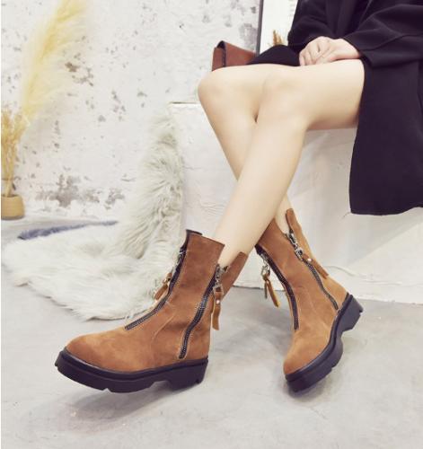 Women Date Low Heel Winter Boots Suede Platform Zipper Booties