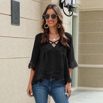 2020 Summer Lace Shirt Ladies Sexy Loose V Neck Chiffon Half-Sleeve Lace Hollow Female Tops Plus Size Blouse Shirts