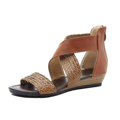 Street Open Toe Ankle Strap Fashion Straw Summer Vintage Zipper Soft Sole Women Sandals