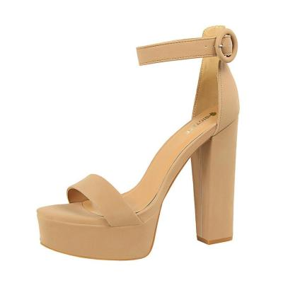 Women Platform Open Toe Party Shoes Concise Wedding Sandals Soft Leather Buckle High Heels