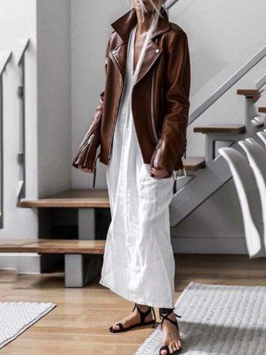 White V Neck Casual Cotton-Blend Dresses
