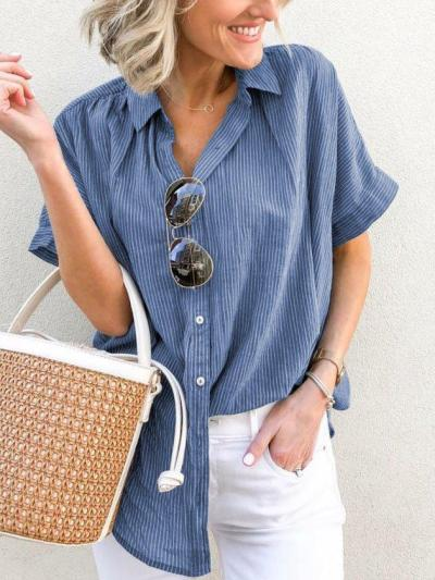 Plus Size Casual V Neck Short Sleeve Striped Tops