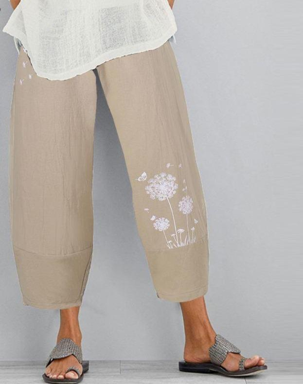Casual Elastic Waist Floral Printed Pantalon Trousers Summer Harem Pants