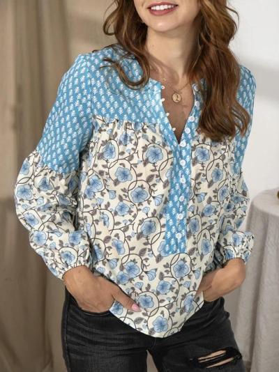 Ladies Dreaming flower Stitching Shirt