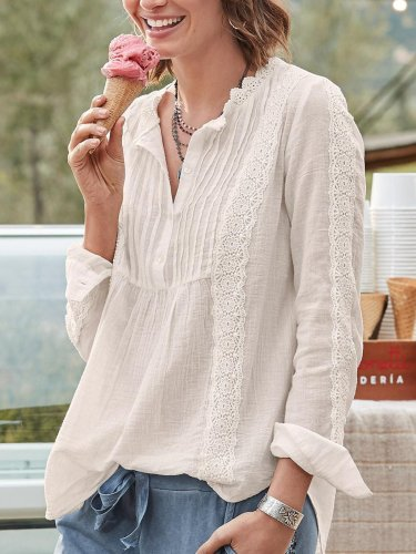 Guipure Lace Casual Shirts & Tops