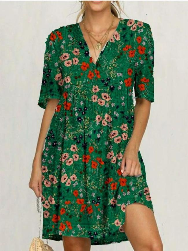 Green Floral V Neck Half Sleeve Dresses
