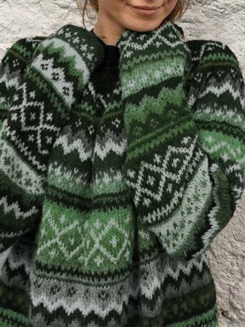 Color-Block Long Sleeve Tribal Sweaters
