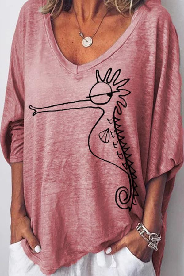 Print Long Sleeve Loose Casual T-shirts