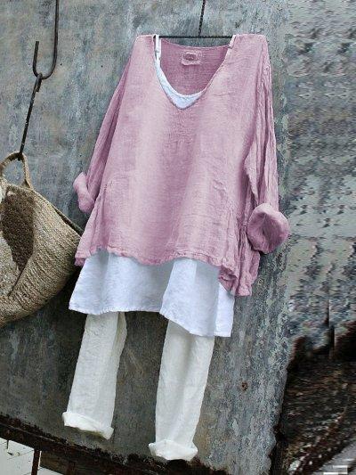 V Neck Long Sleeve Shirts & Tops