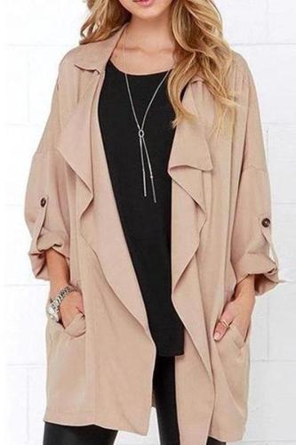 Oversize Plain Trendy Trench Coats