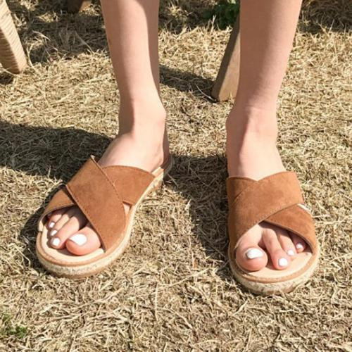Women Casual Flat  Linen Straw Sandals Summer Roman Shoes