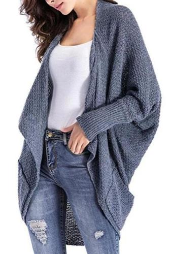 Fashion Asymmetrical Hem Long Batwing Sleeve Pocket Cardigans