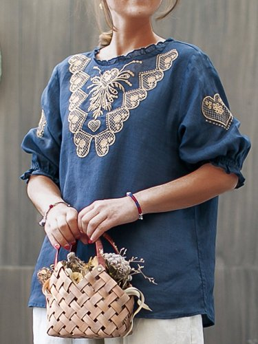 Women Embroidered Loose Lantern Sleeve  Casual Top