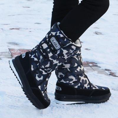 Womens Warm Flat Heel Oxford Winter Snow Boots