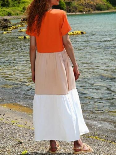 Summer Maxi Dress Plus Size Paneled Short Sleeve Dresses