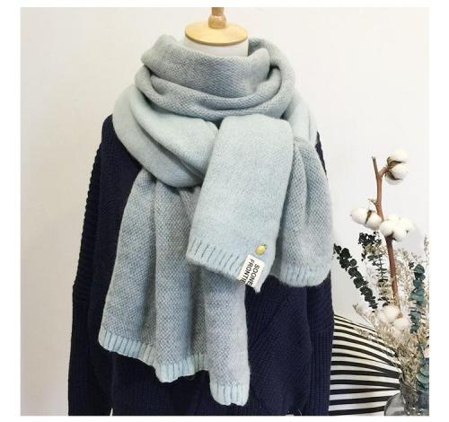 New Lady Scarf Cute Winter Wool Knitted Scarf Warm Soft Double face