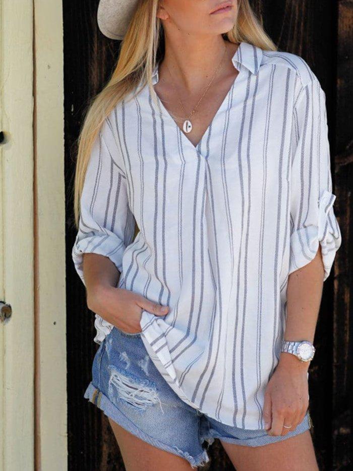 White V Neck Long Sleeve Shirts & Tops